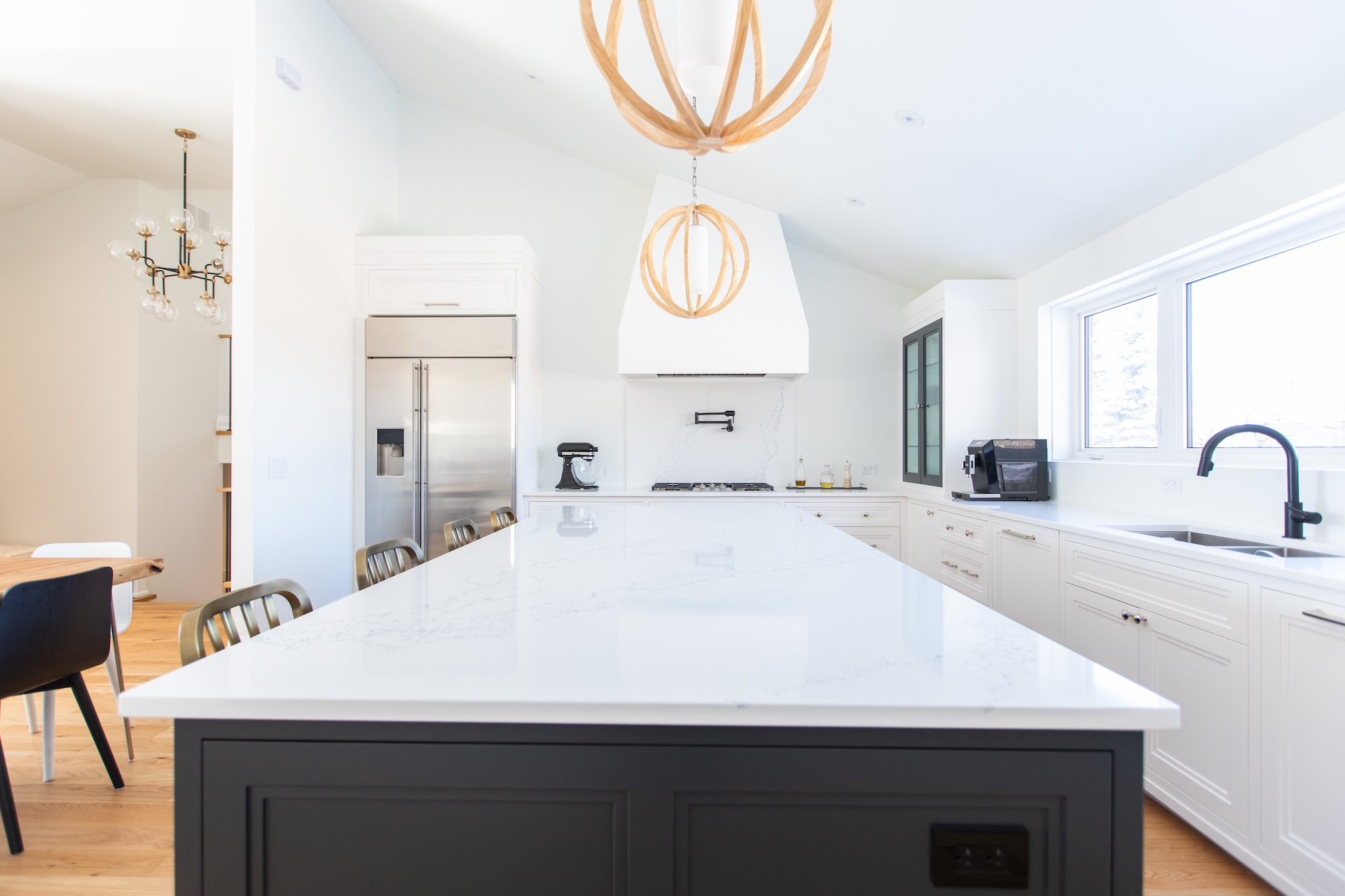 Kitchen island with white counter
