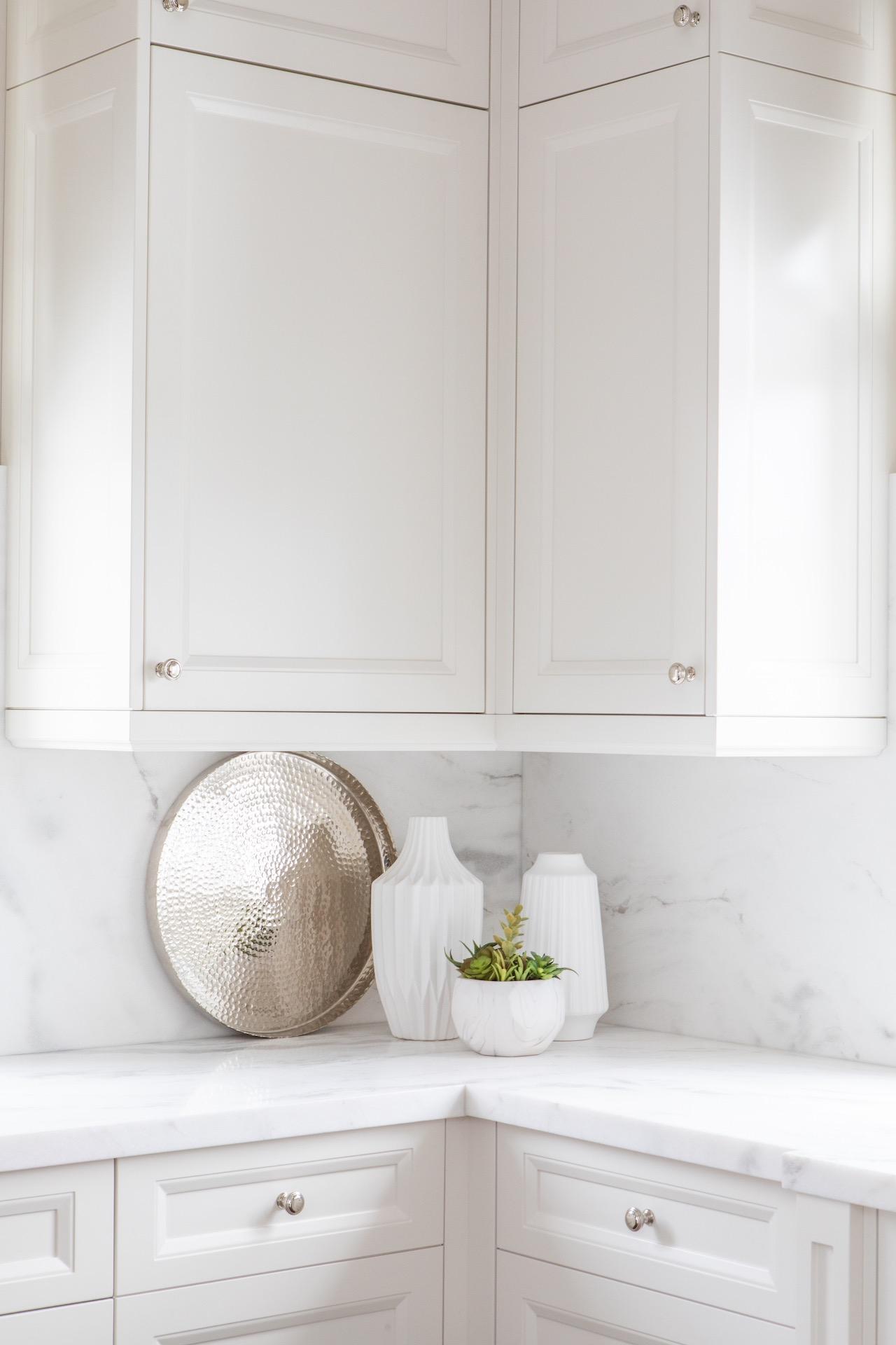 corner of white kitchen counter
