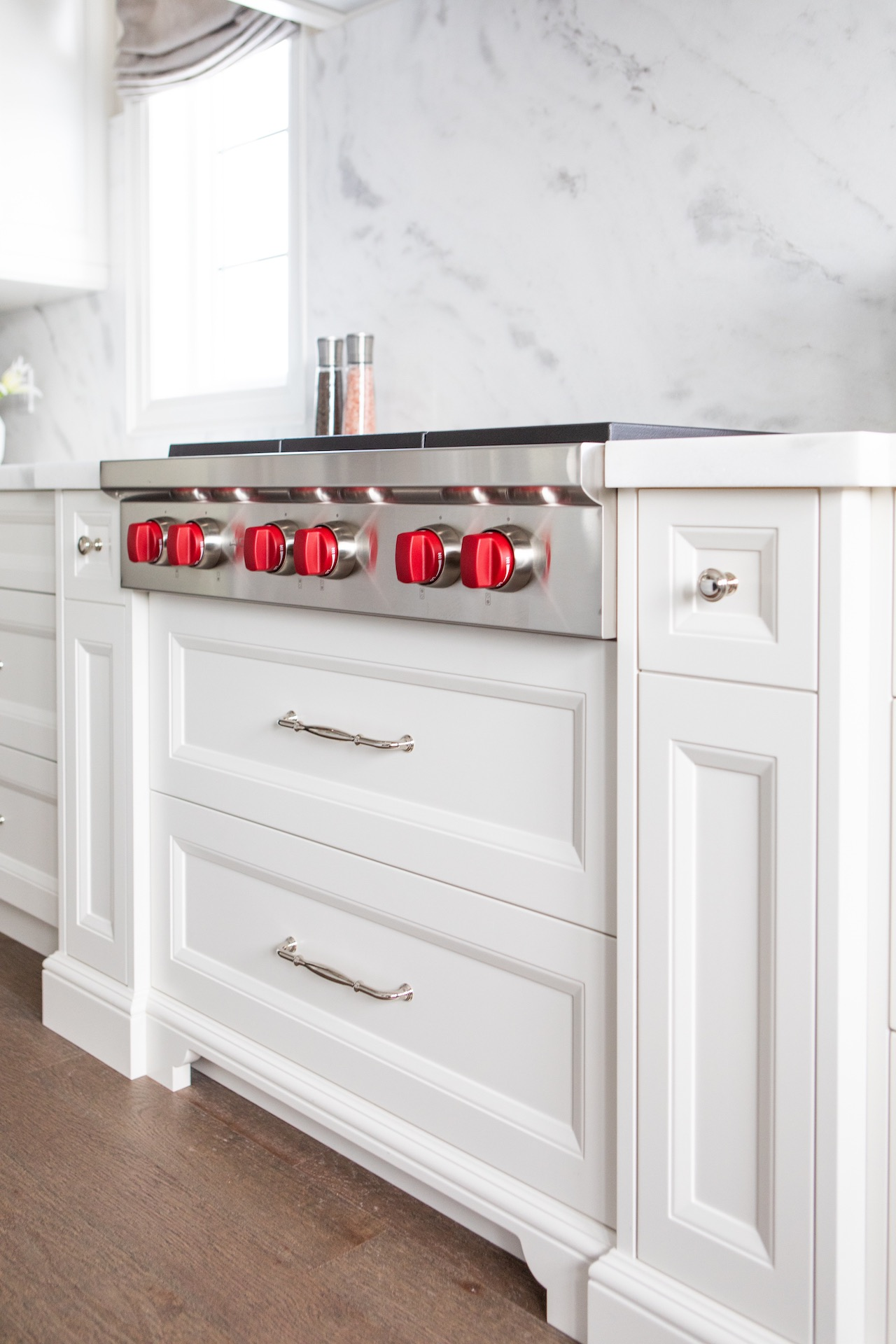 stove top with red handles