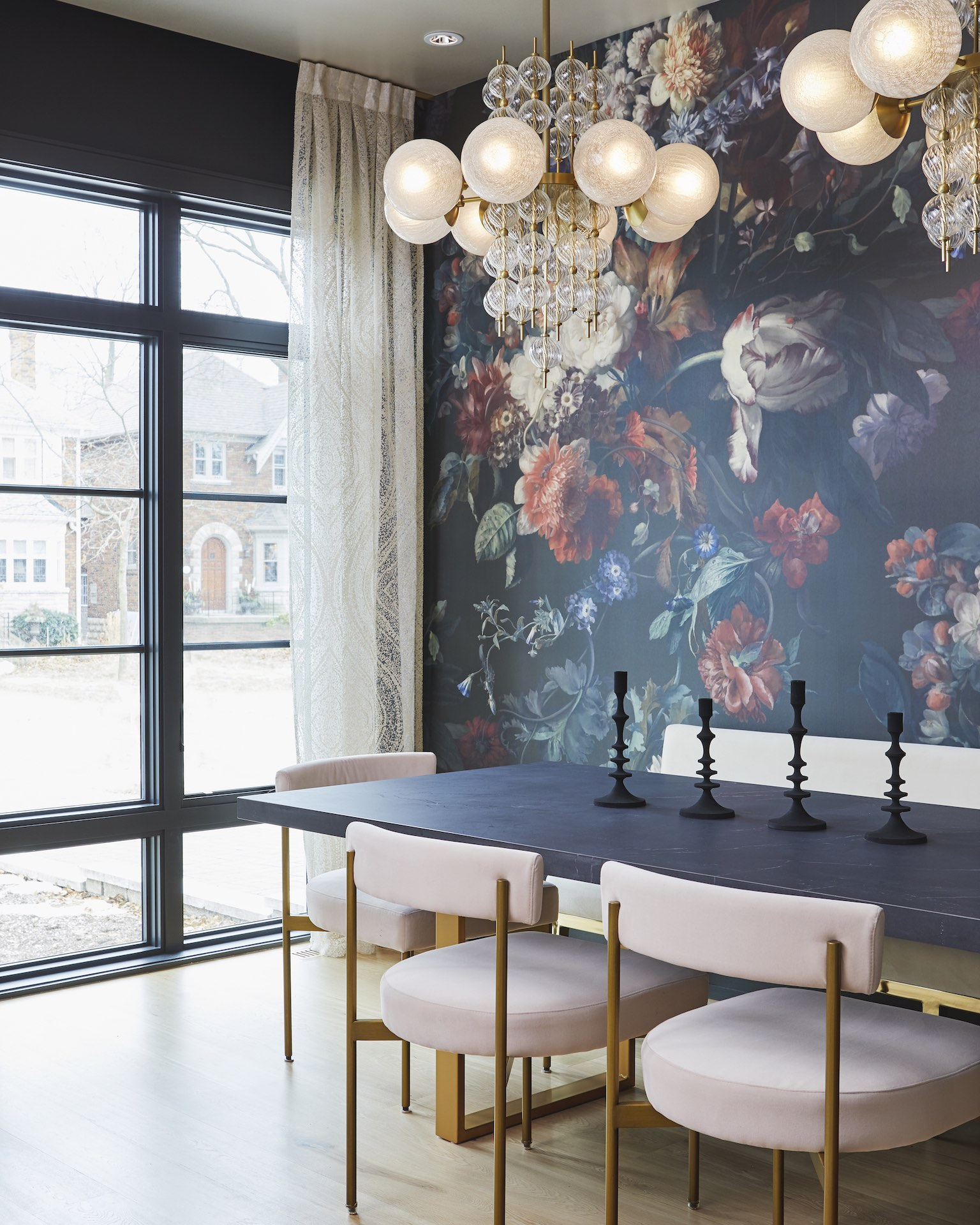kitchen table with flower wallpaper