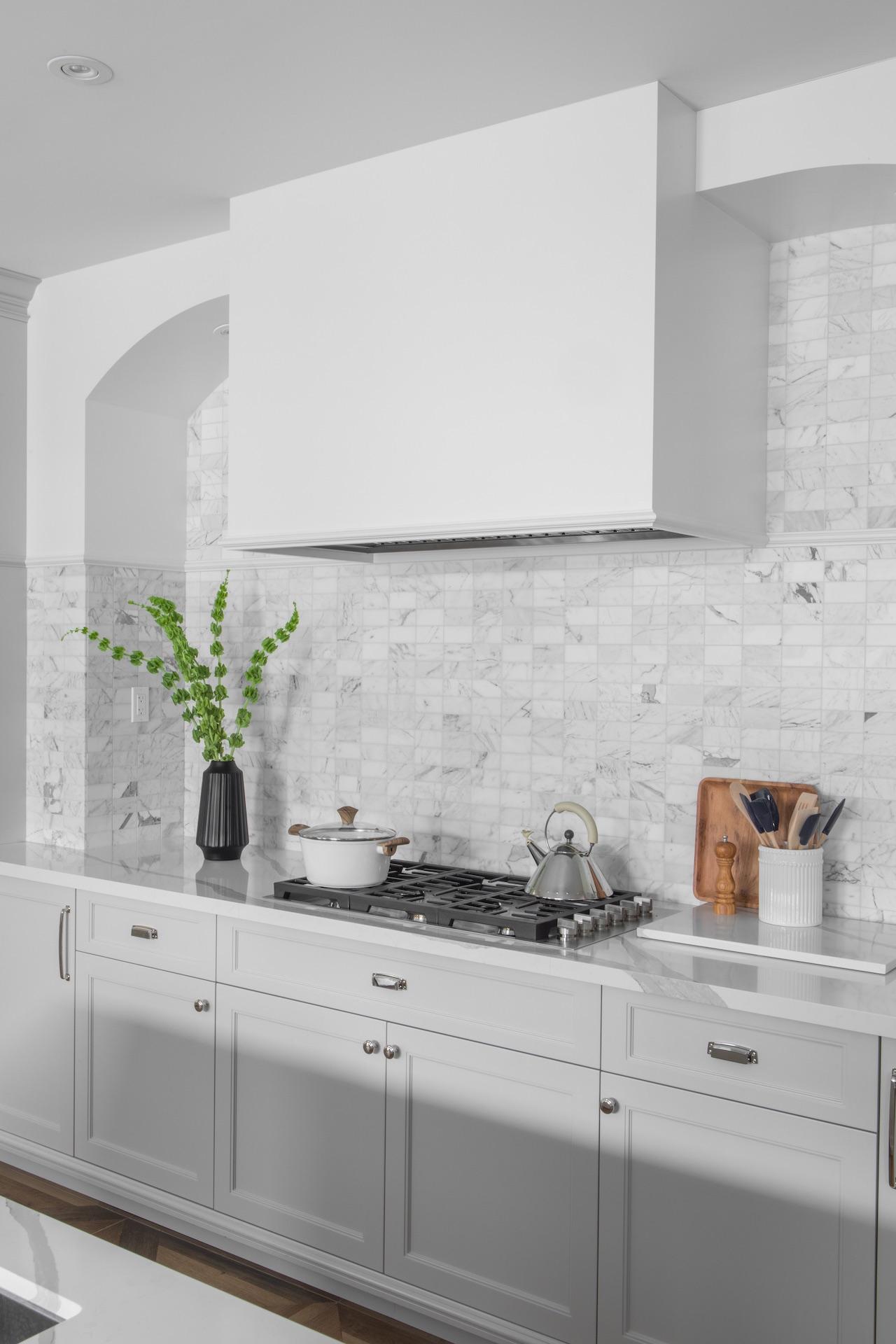 white kitchen with stove