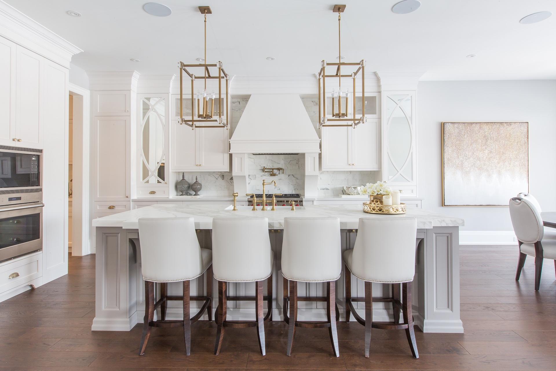 White NIICO kitchen with bar stools