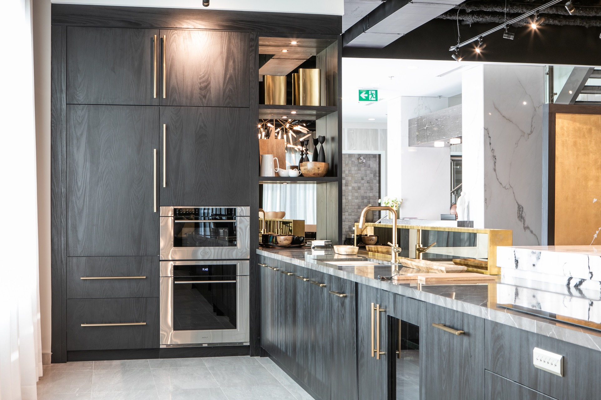 Grey kitchen with sink and oven