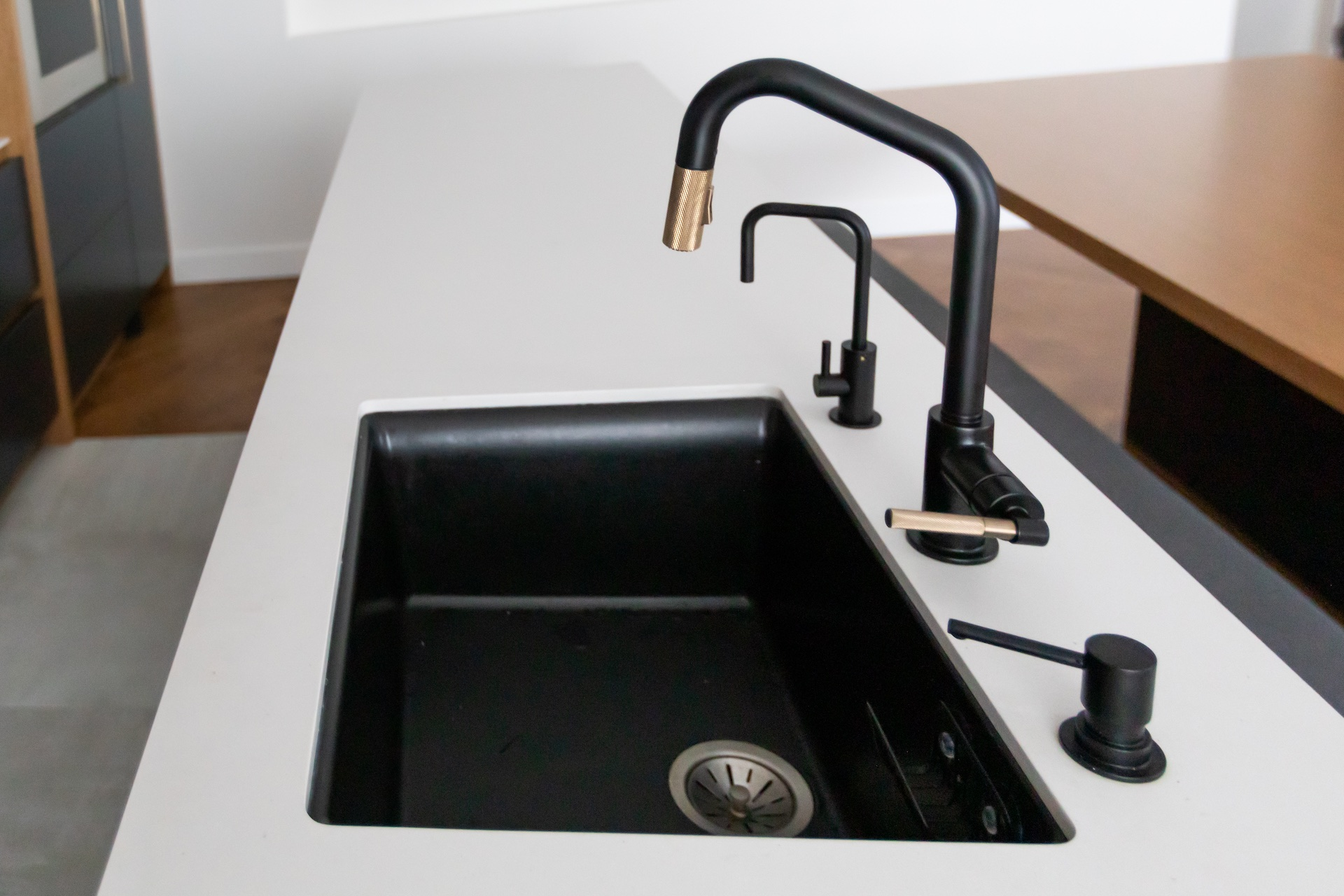black sink and black faucet