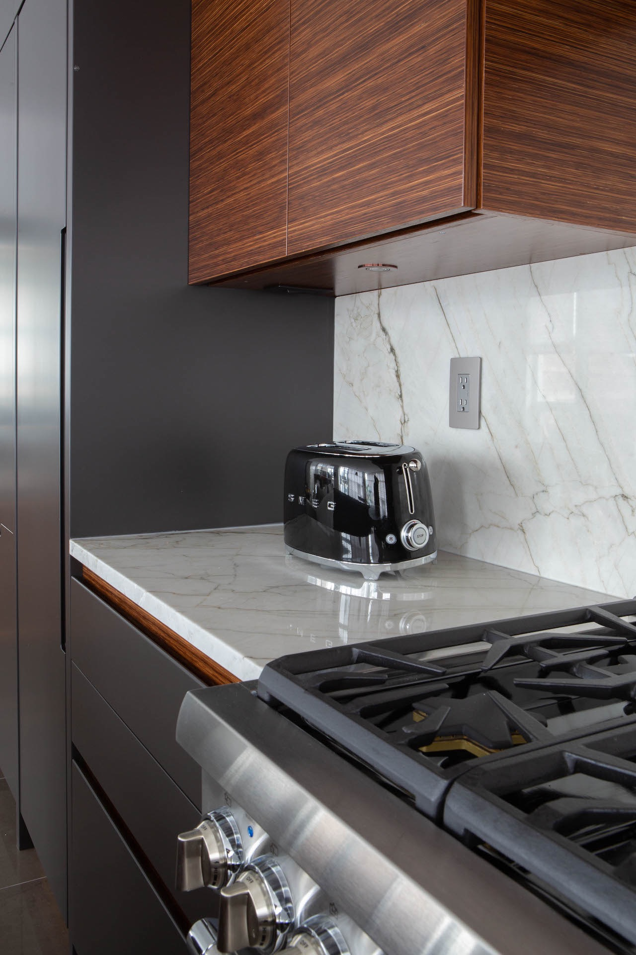 Marble counter with toaster and stove
