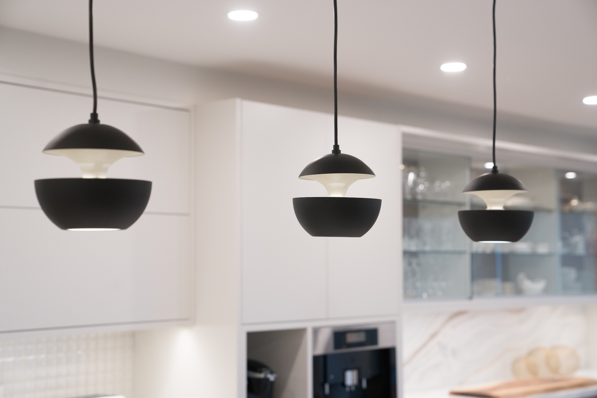 Black round hanging lights