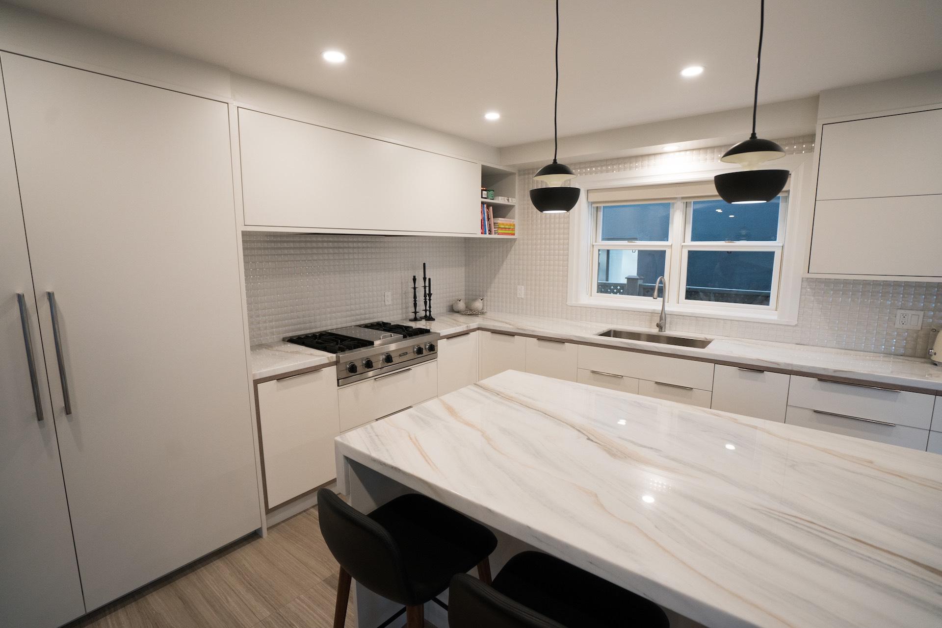 white kitchen marble island