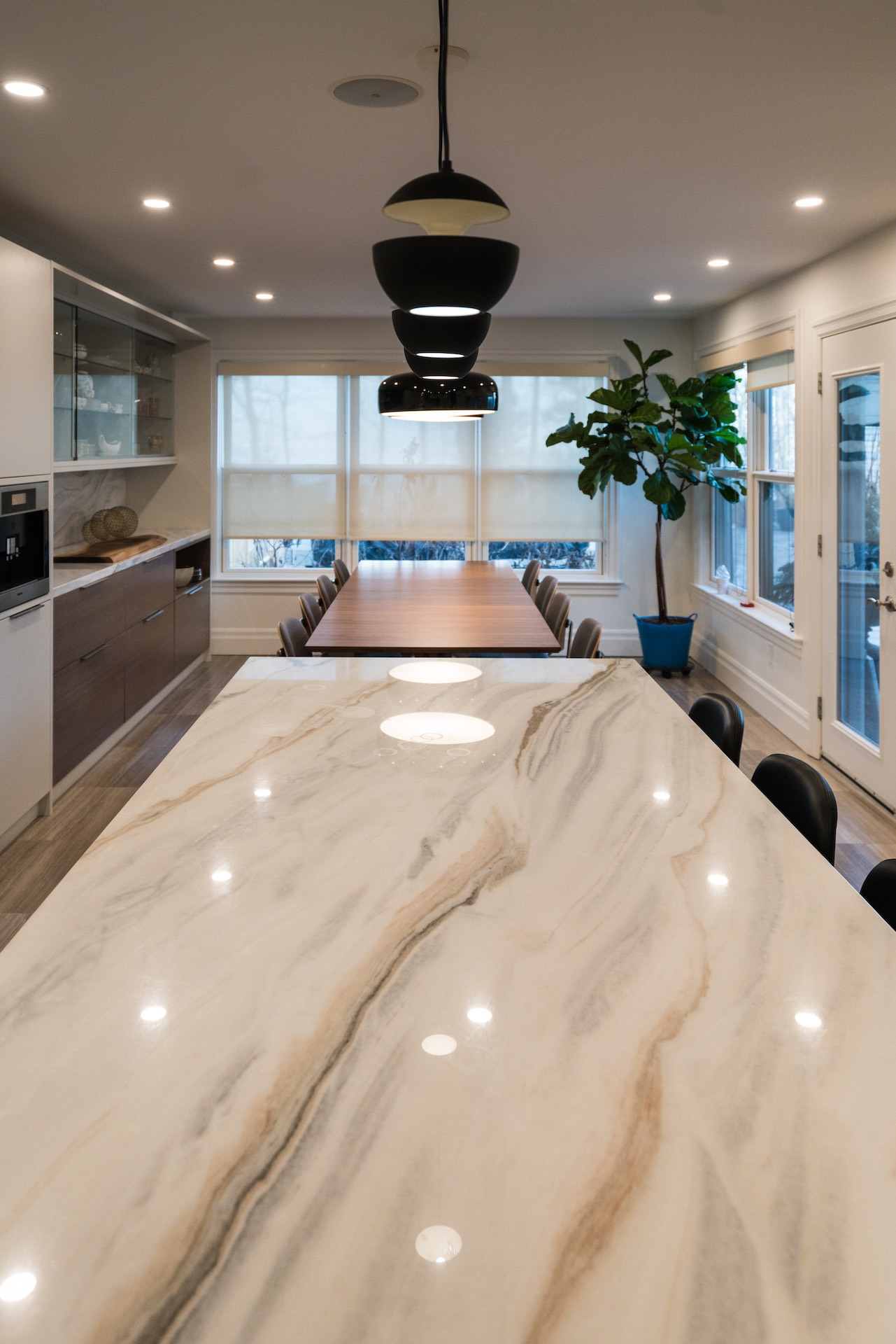 White marble island top