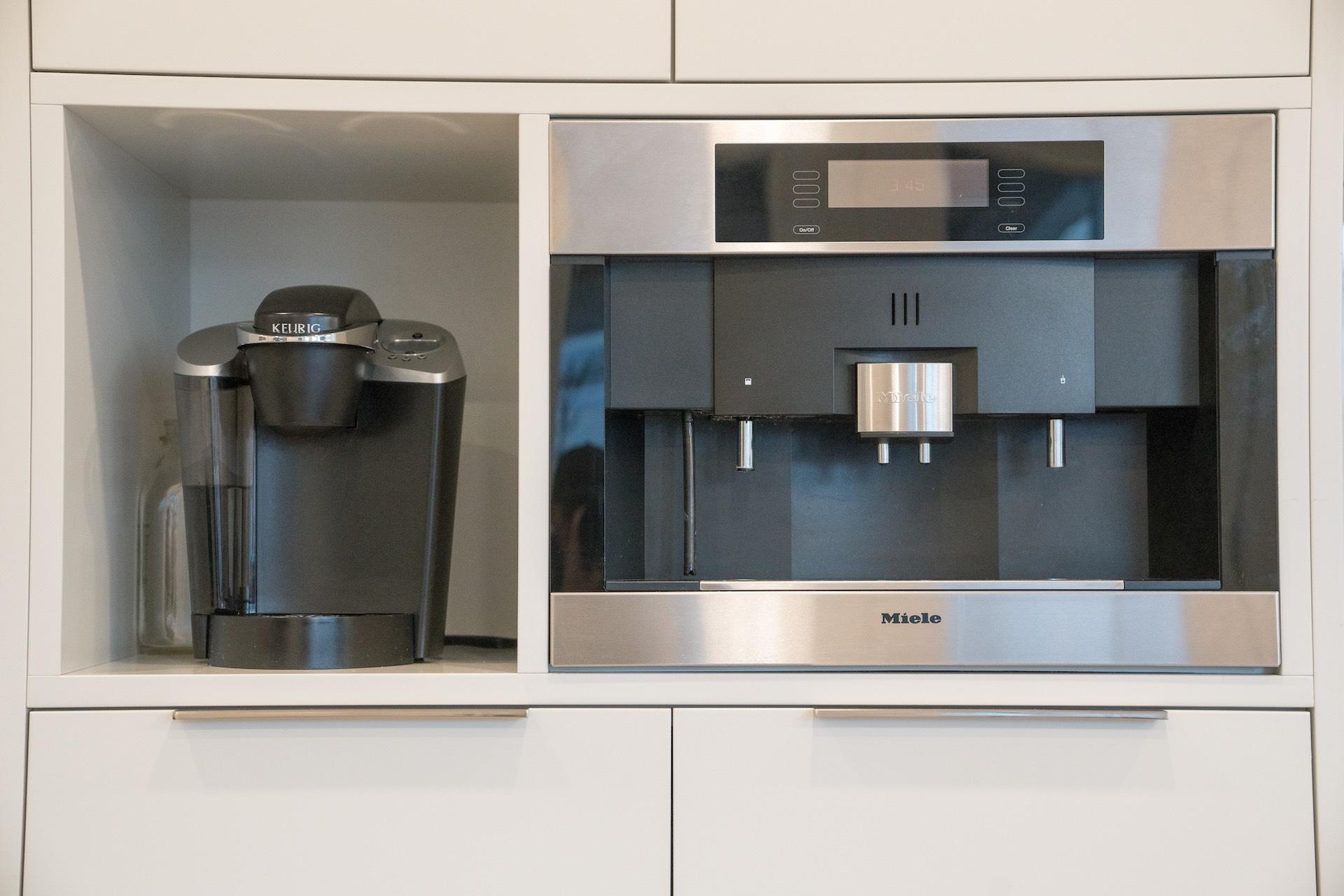 Espresso machine built into kitchen