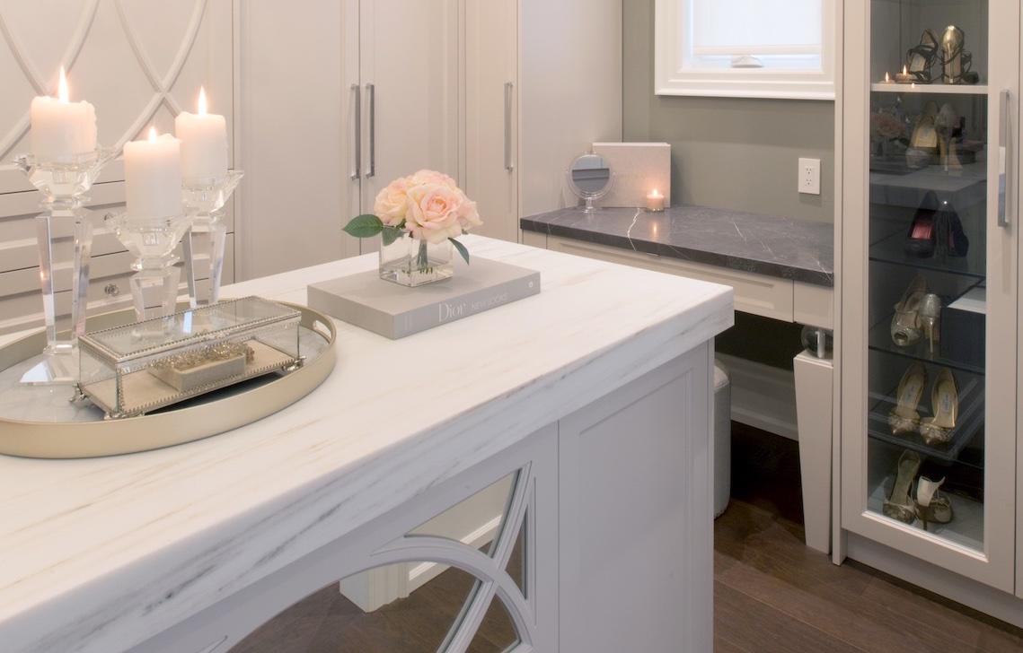 wardrobe white marble surface
