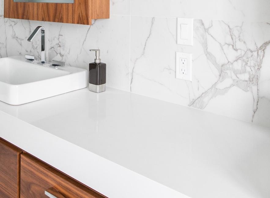 marble counter and backsplash