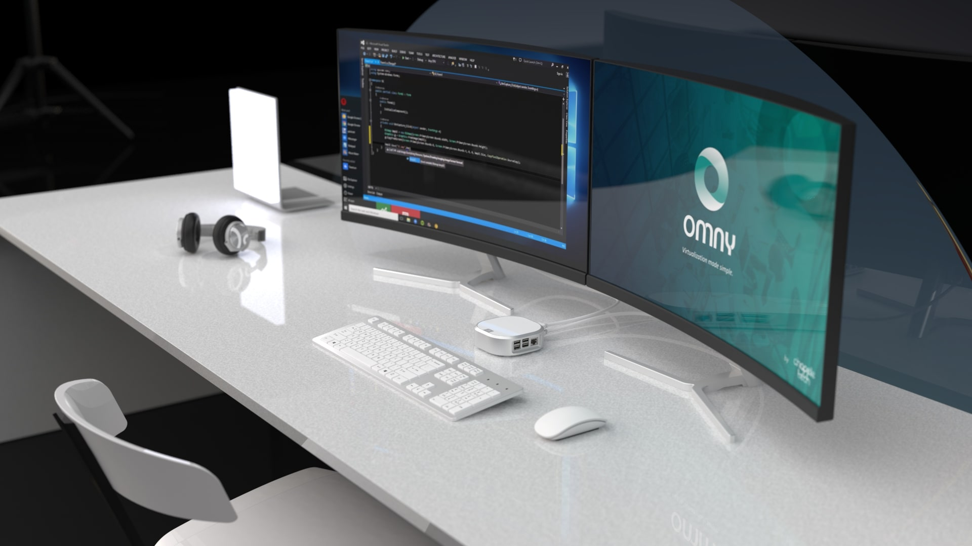 Bureau blanc avec la solution de virtualisation Omny
