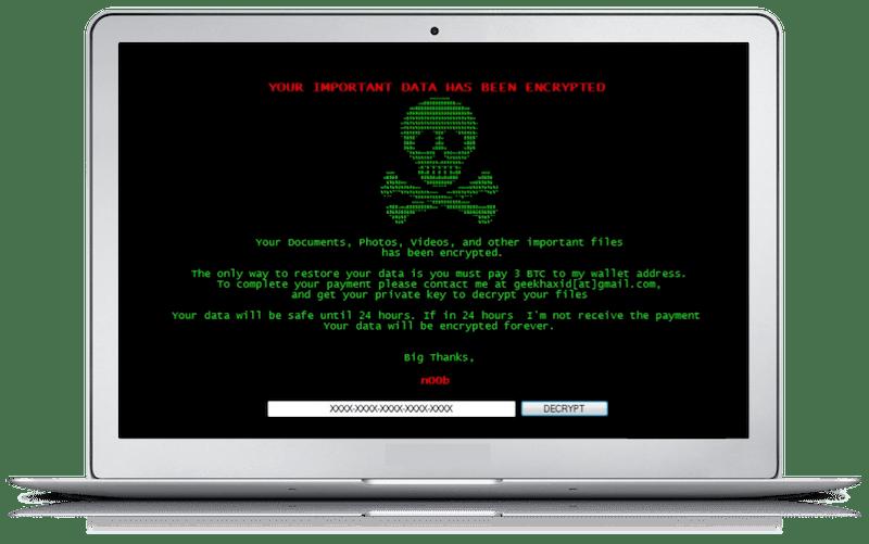 Ordinateur portable avec image ransomware