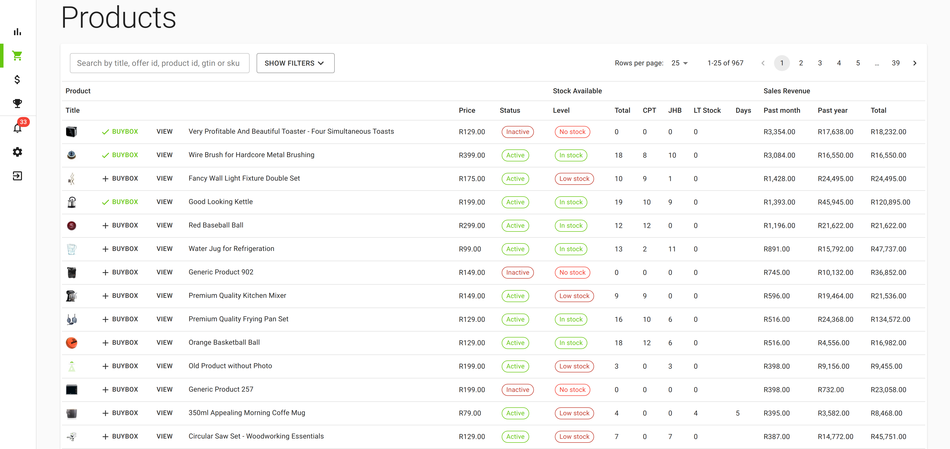 Products page listing all your products and their statistics