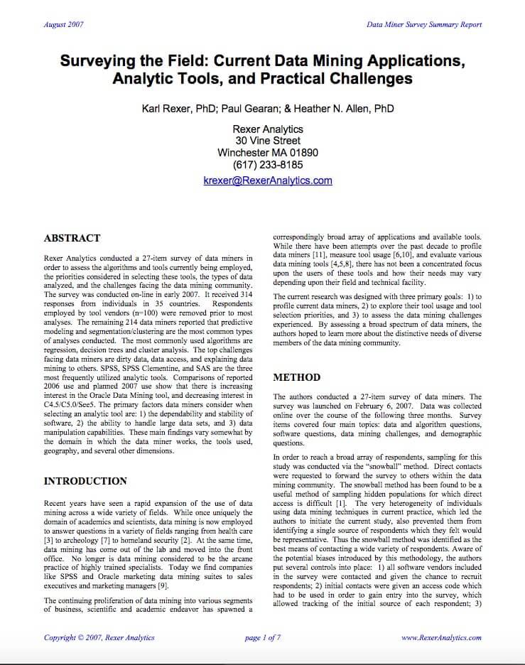 2007 data science survey