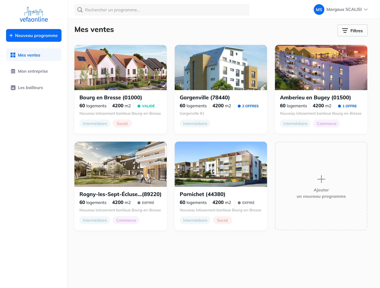 Interface de la plateforme vefaonline : solution pour les bailleurs sociaux et les promoteurs immobiliers