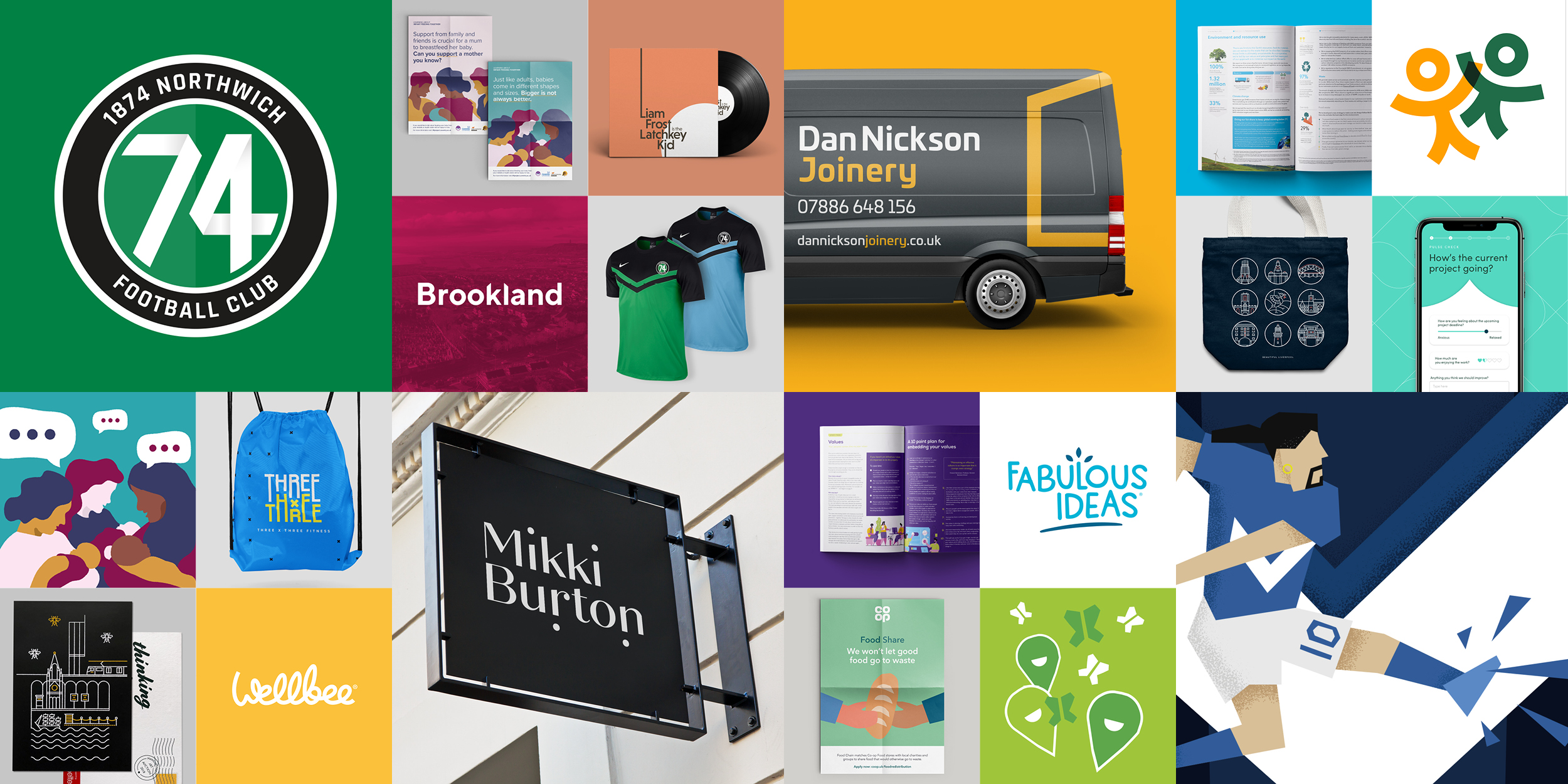 A selection of work produced by Ben Clark Design studio in Manchester
