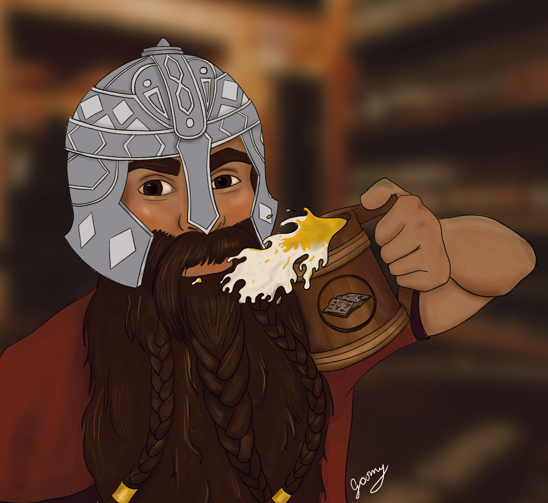 digital drawing of a long-bearded medieval dwarf character drinking beer while wearing a helmet
