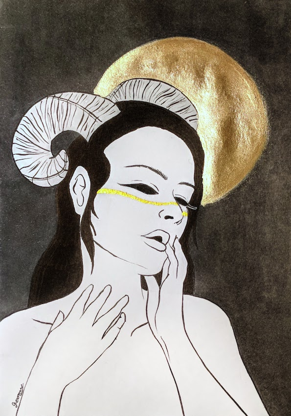 watercolour drawing of a sultry woman wearing ram horns on her head with a golden circle behind her over a dark grey background