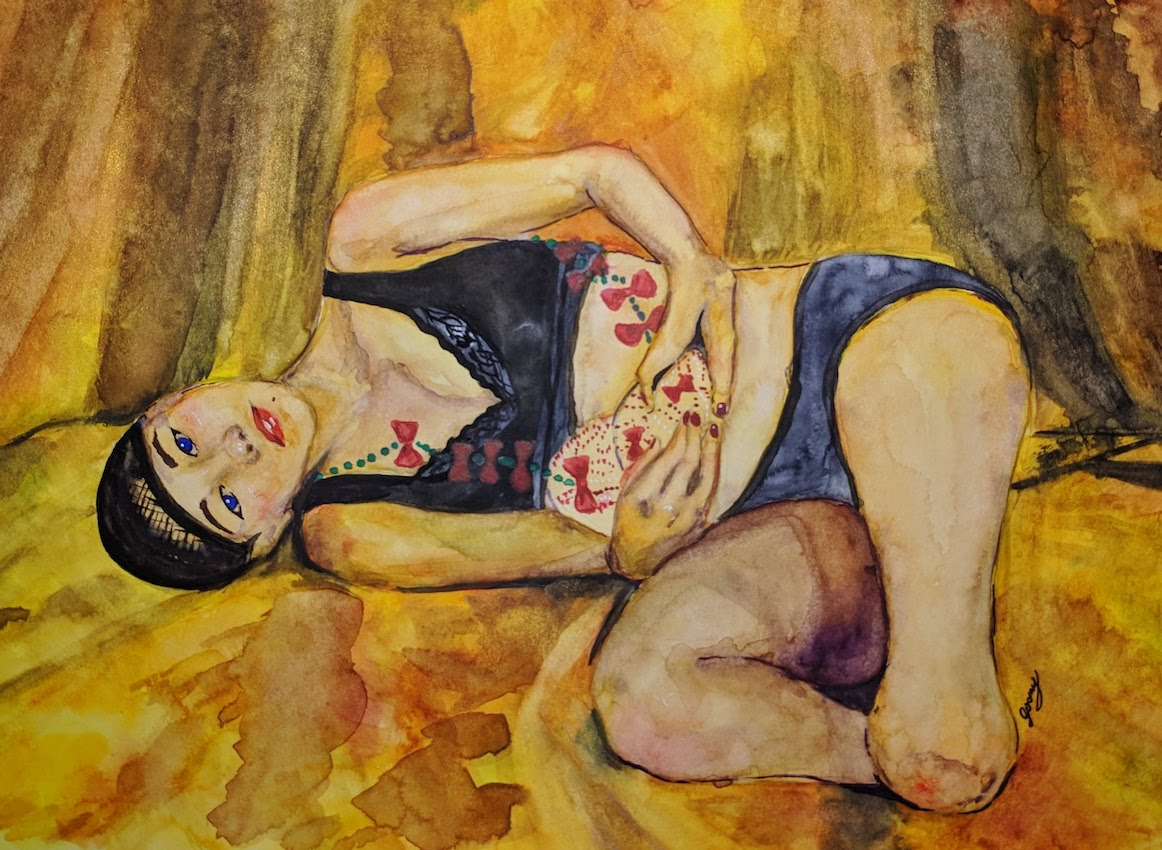 watercolour image of an amputee artist called Katayama Mari laying on a orange-toned background