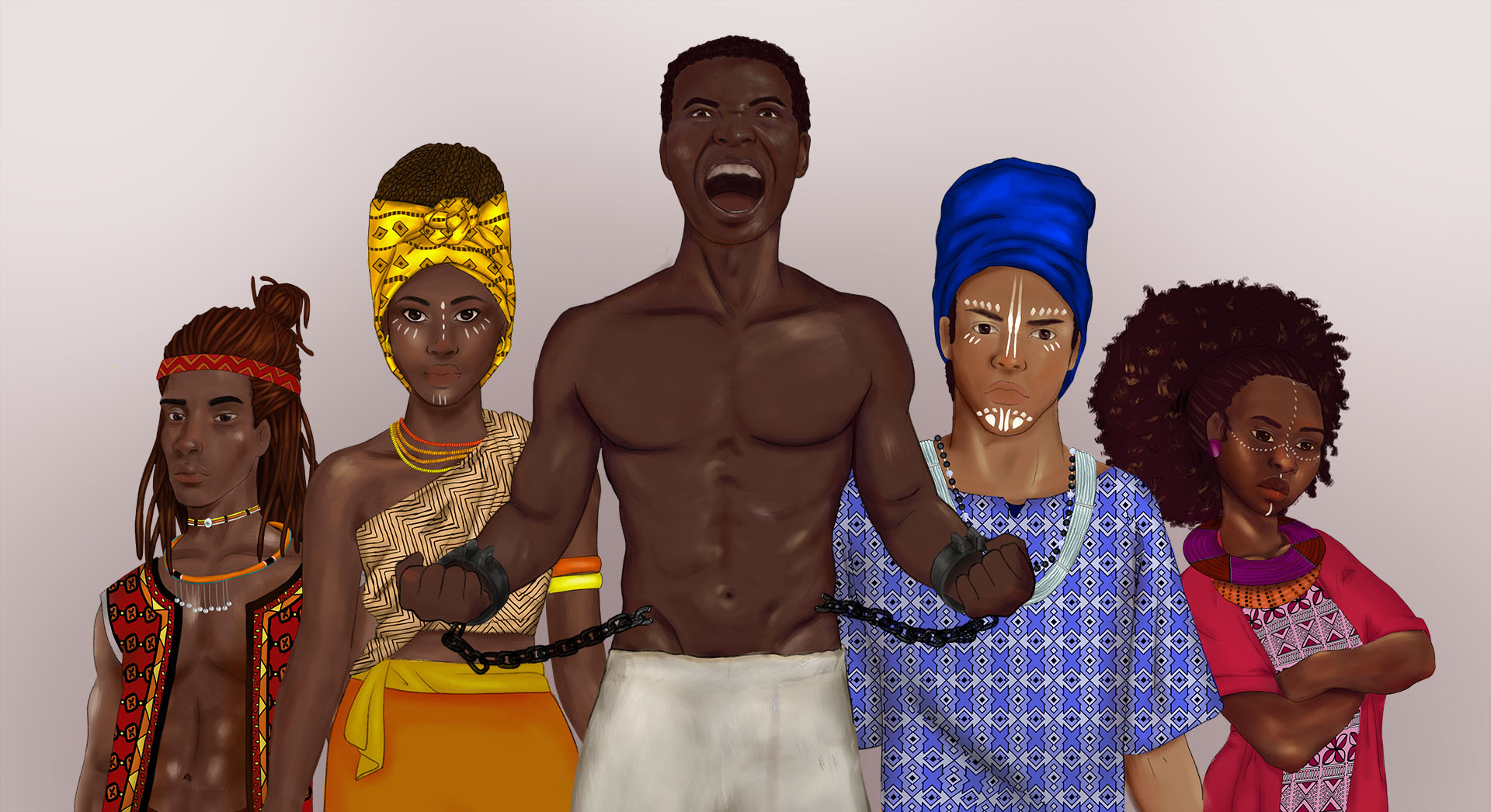 digital drawing of 5 black people. the 4 people in the back are wearing colourful angolan clothing while the one in the front is a slave breaking his chains