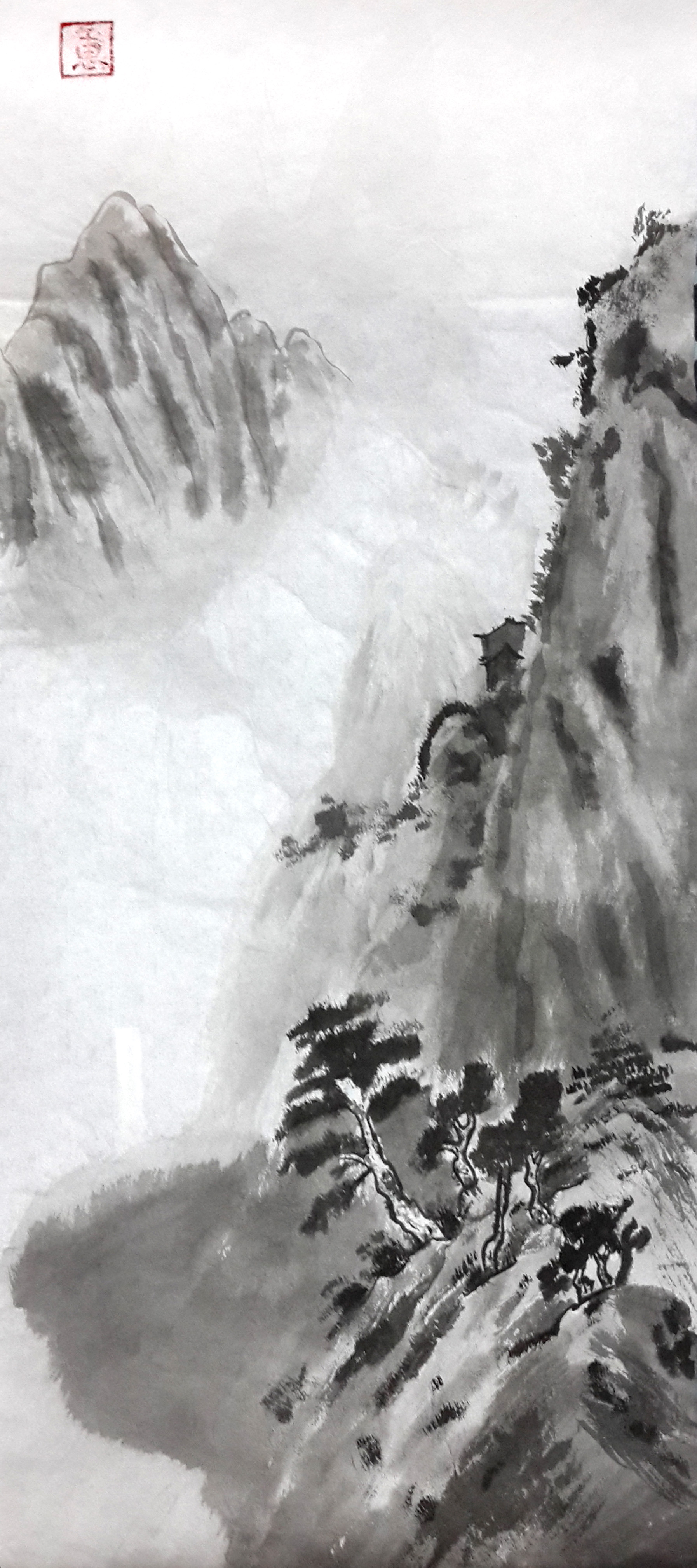japanese-style watercolour drawing of a mountain with trees and fog