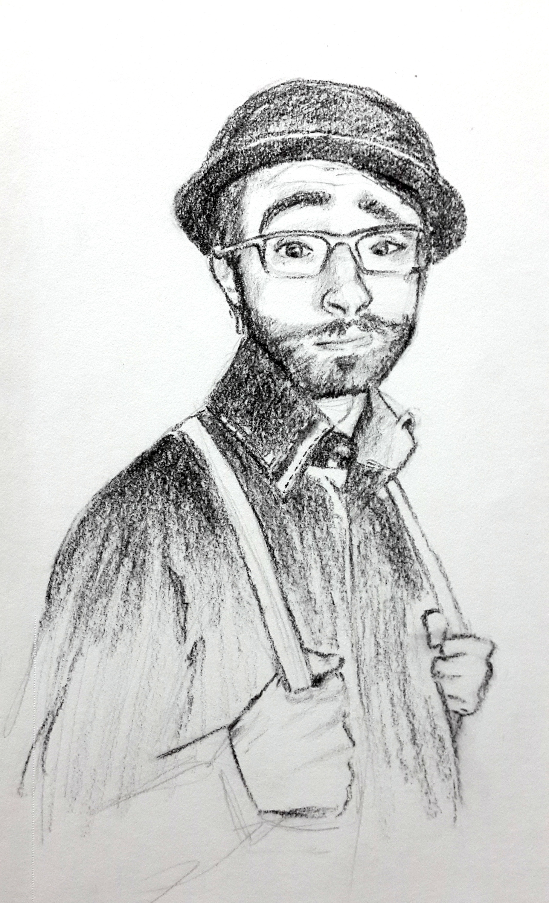 charcoal drawing of a retro looking man ready to dance