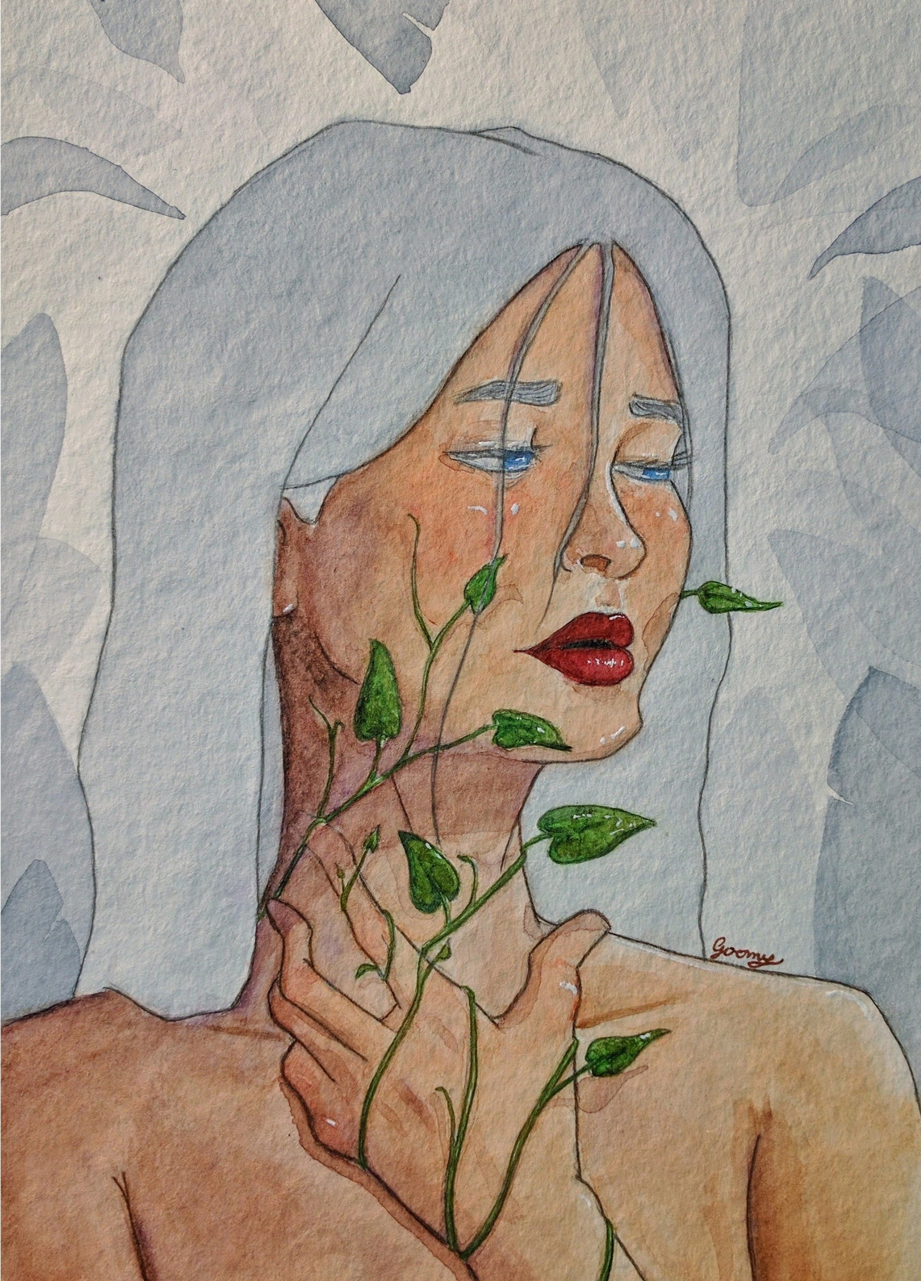 watercolour drawing of a white-haired woman looking solemnly to the side while holding her throat. her throat and hand are covered in vines