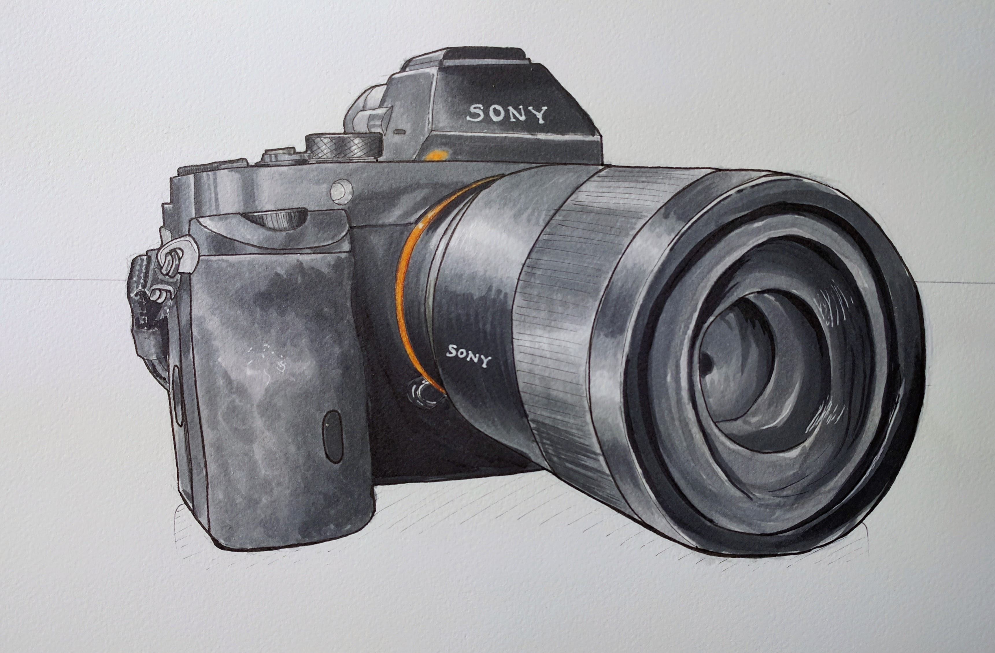 ink drawing of a professional camera