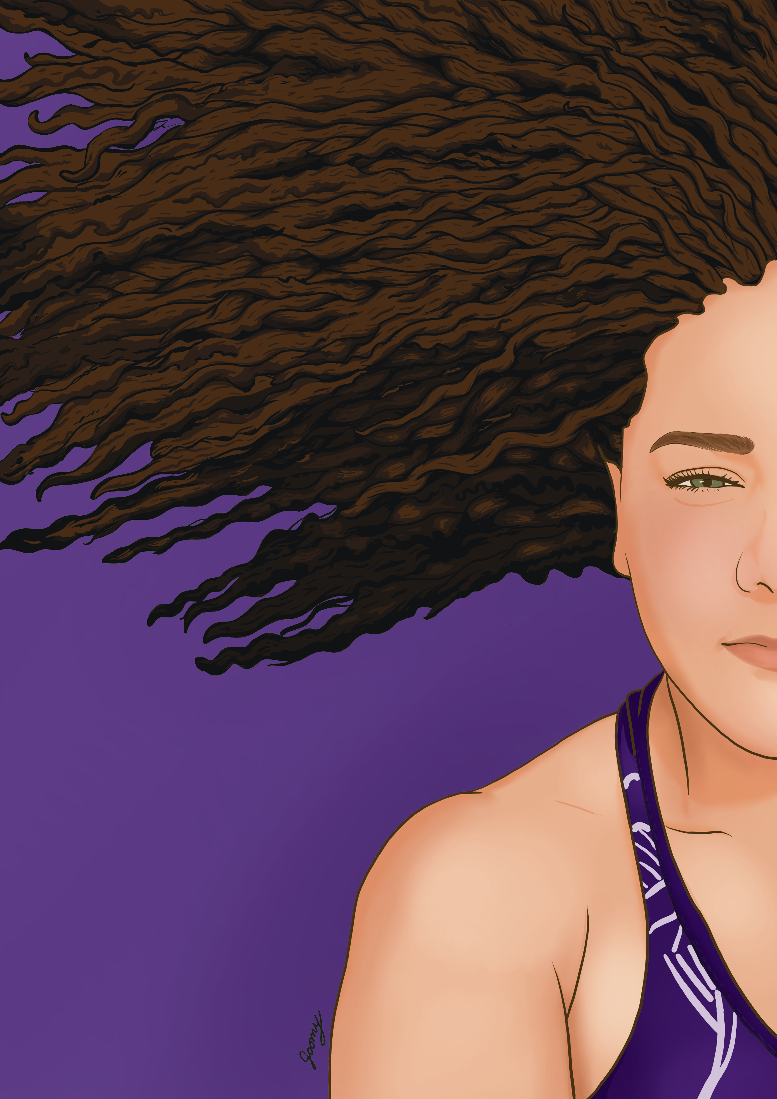 digital drawing of a woman laying on the ground with her curly hair spread out