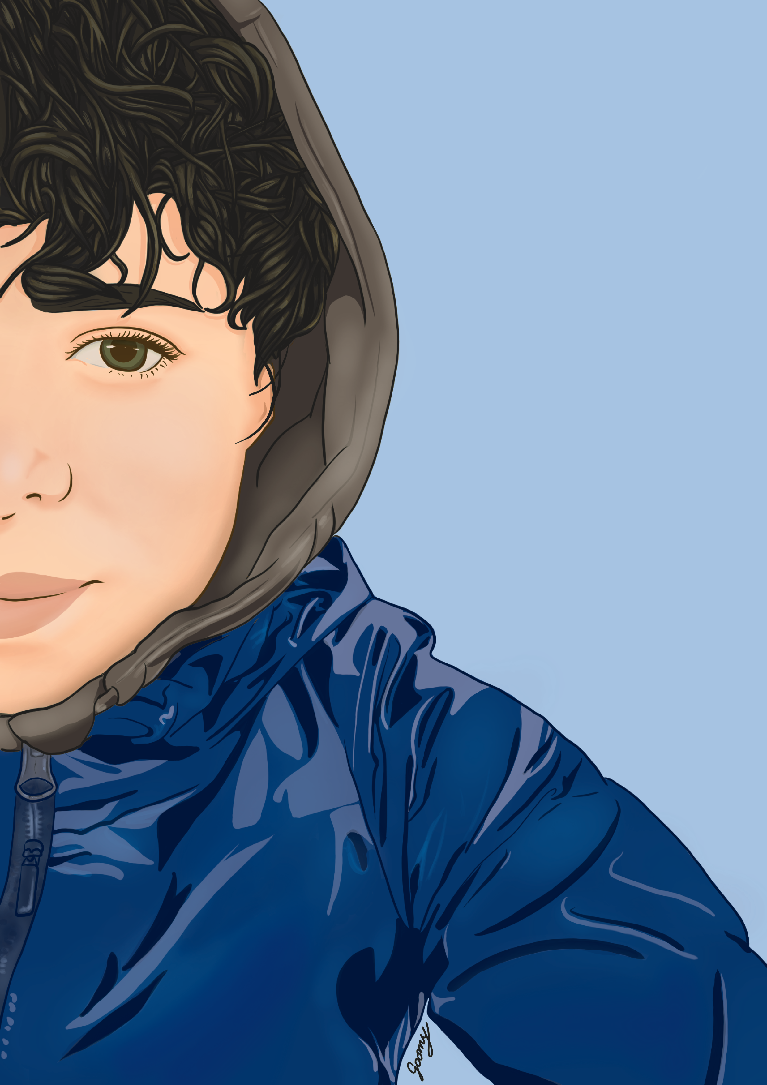 digital drawing of a woman with short hair wearing a blue parka