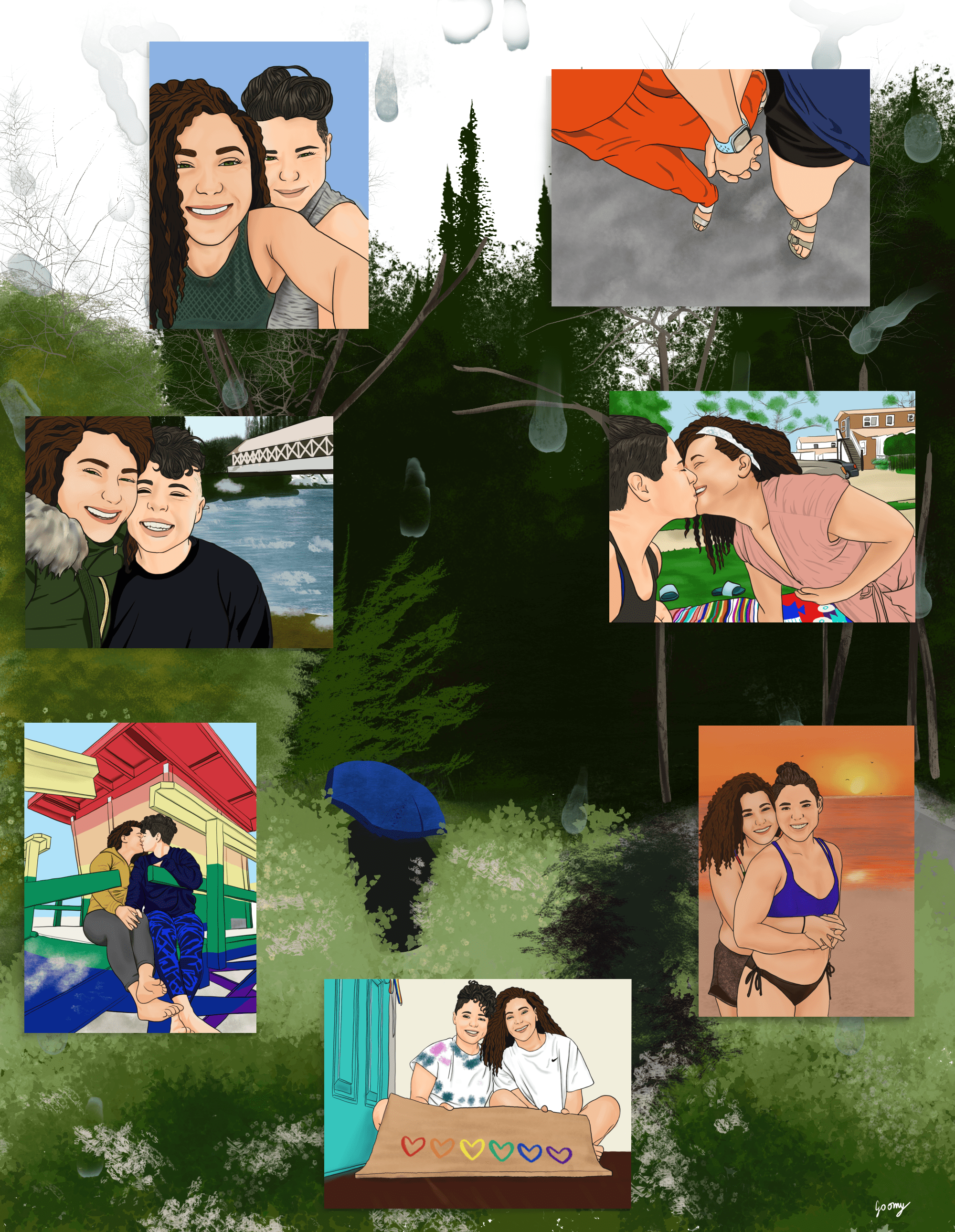 a digital collage of 7 illustrated photos of a lesbian couple over a rainy background