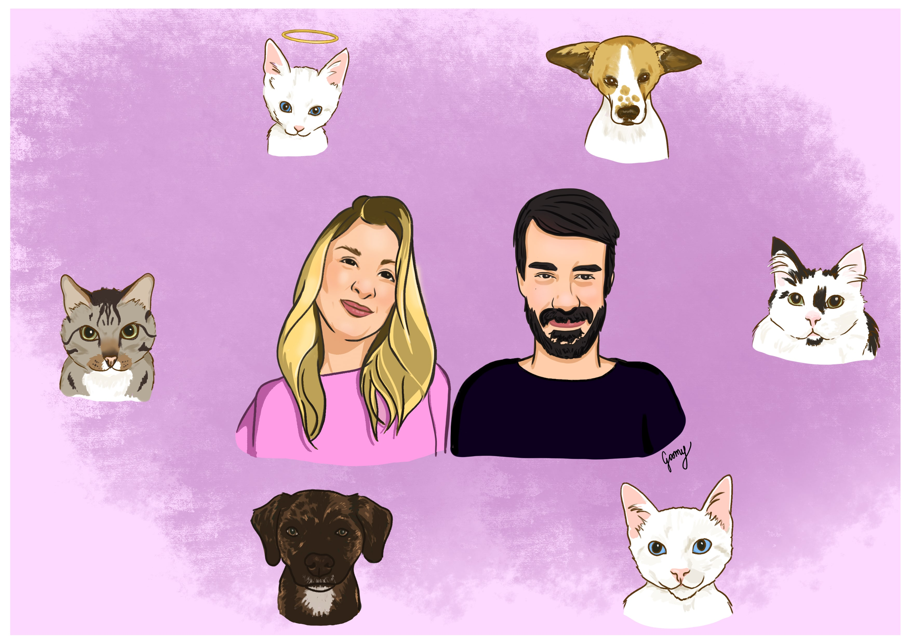 digital drawing of a couple surrounded by their cats and dogs over a pink background
