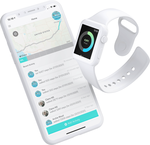 An apple iphone and apple watch displaying the Big Team Challenge appstore apps