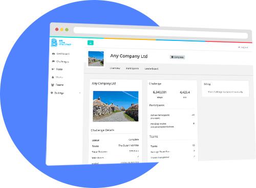 Big Team Challenge's virtual walk  creator displayed in a browser window.