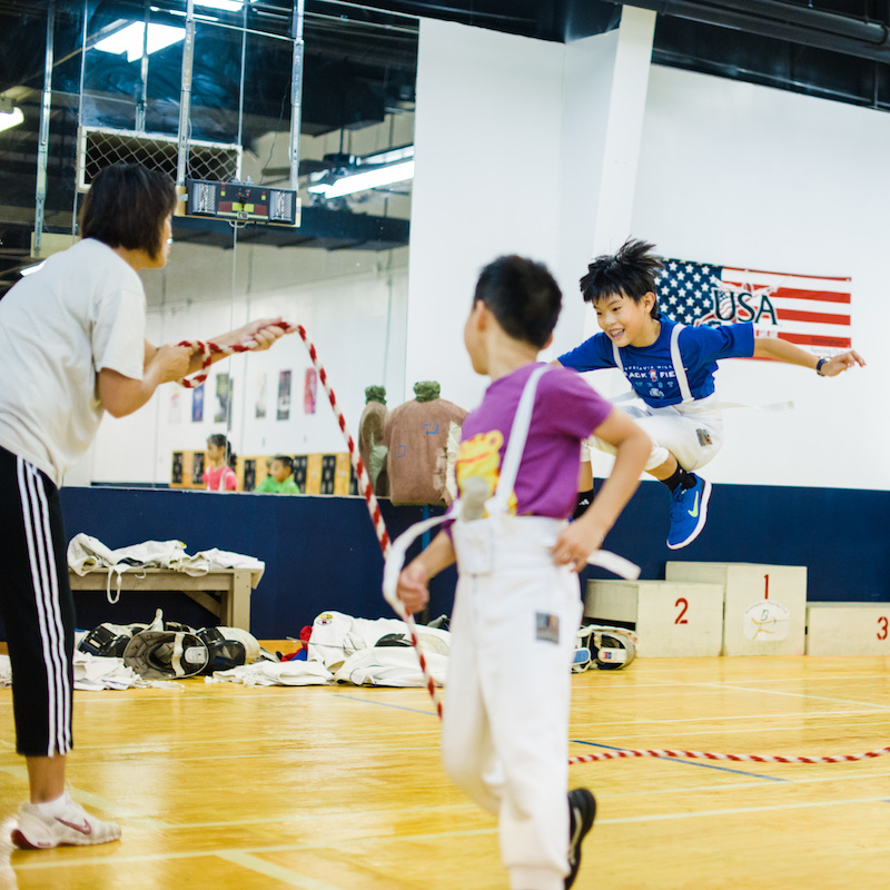 fencing camp, kids jumping rope