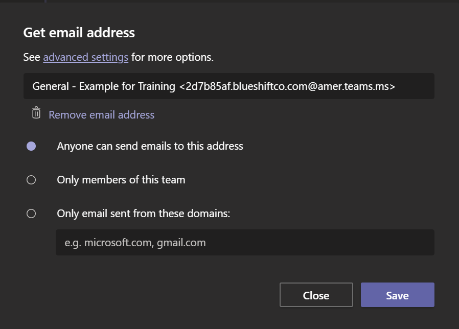 "Screenshot of Teams App showing additional settings for ""Get email address""."