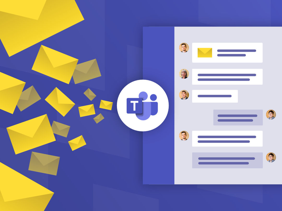 Image of email messages being funneled down into Microsoft Teams