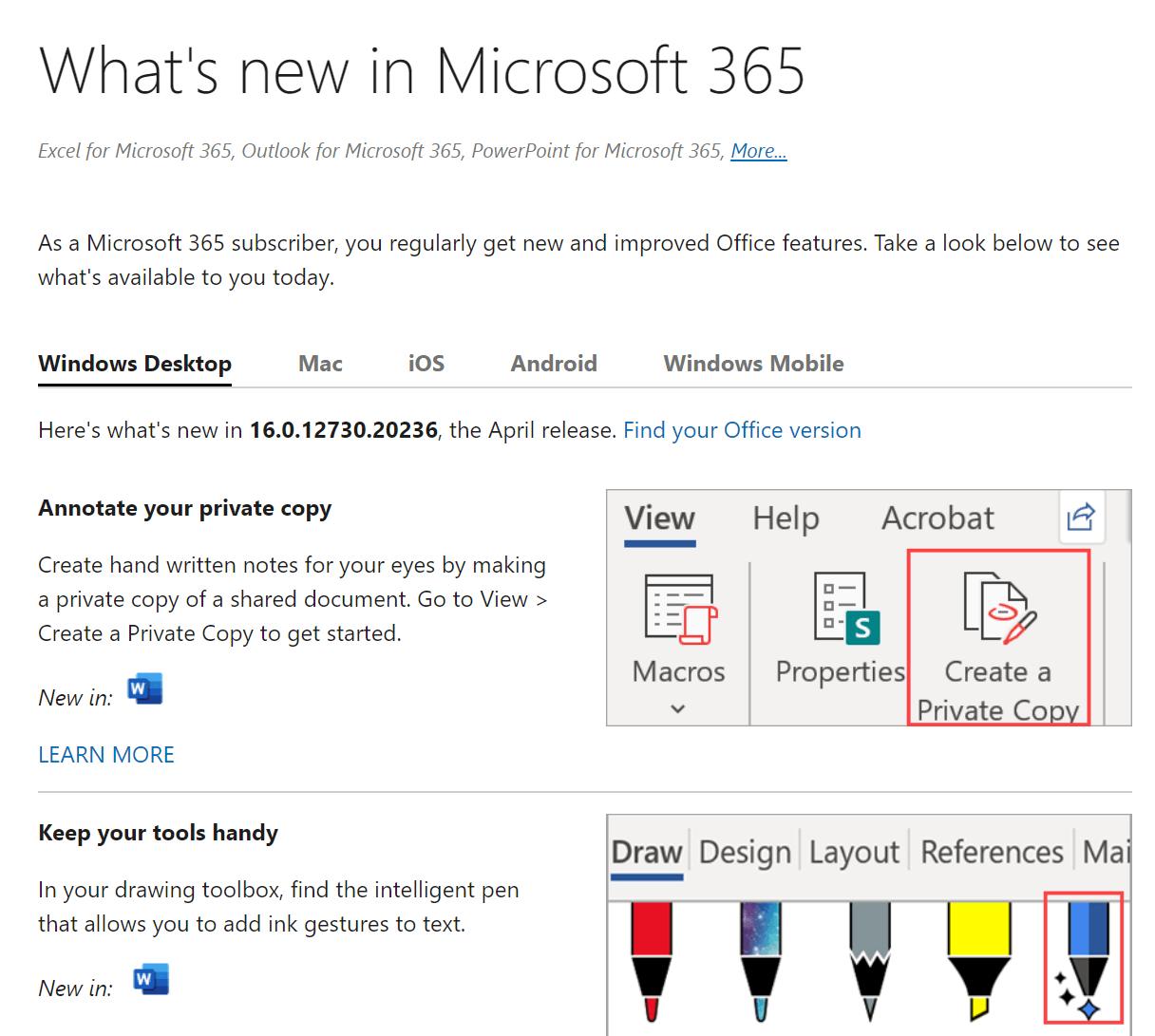 Screenshot of 'What's New in Microsoft 365' webpage.