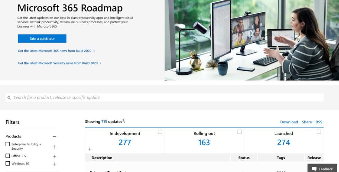 Screenshot of 'Microsoft 365 Roadmap' webpage.