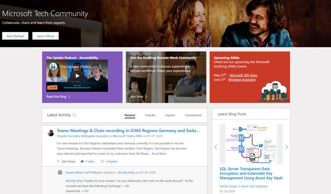 Screenshot of 'Microsoft Tech Community' webpage.