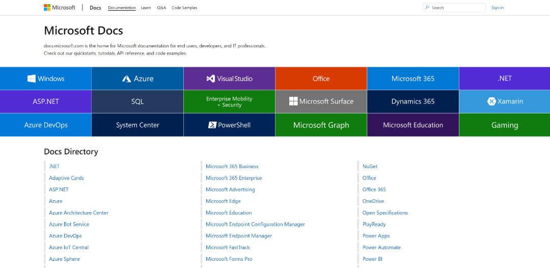 Screenshot of 'Microsoft Docs' webpage.