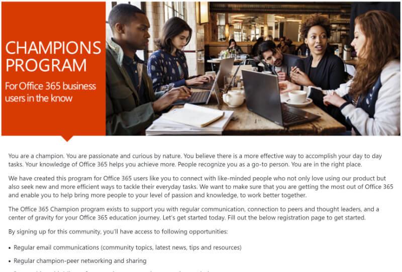 Screenshot of 'Office 365 Champions Program' webpage.