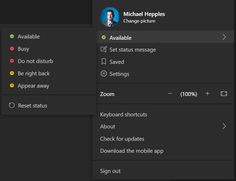 Screenshot of Microsoft Teams status menu.