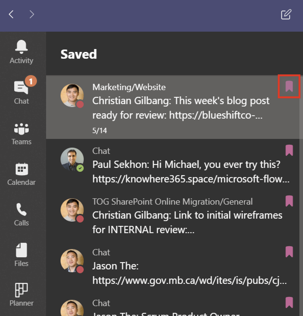 Screenshot of Microsoft Teams list of Saved items.