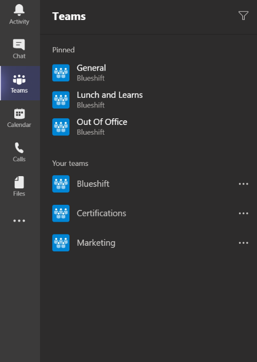 Screenshot of Microsoft Teams tab.