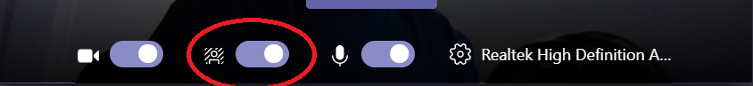 Screenshot of Microsoft Teams background effects toggle.