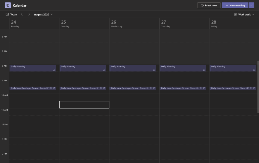 Screenshot of calendar feature in Microsoft Teams.