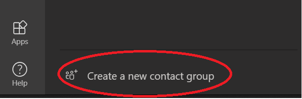 Screenshot of 'create new contact group' button in Microsoft Teams.