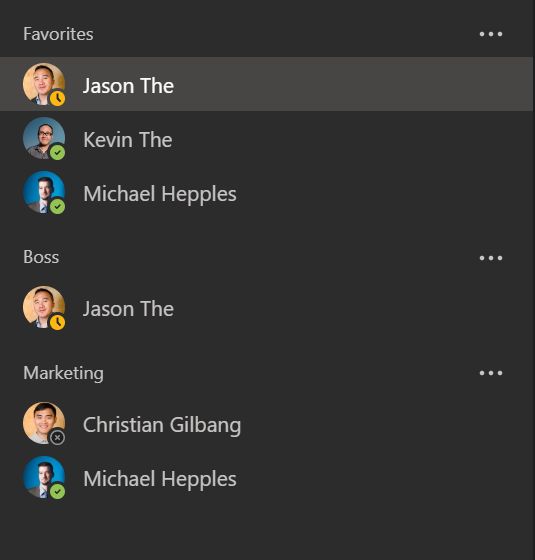 Screenshot of contact groups in Microsoft Teams.